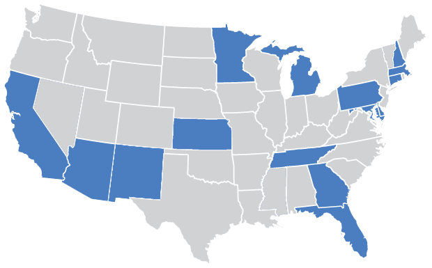 This is a US Map showing which states Centurion currently operates in.